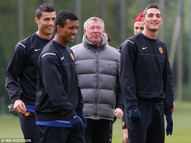 No comparison: Nani (second left) is given a tough time by Sir Alex Ferguson because he fails to shape up against Cristiano Ronaldo (left), says Bebe