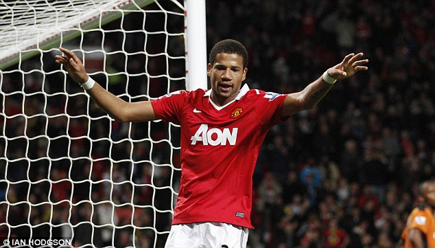 Collector's item: Bebe nets against Wolves in the League Cup in October 2010, but the young Portuguese failed to impress at Old Trafford after his £7.4m move from Guimaraes