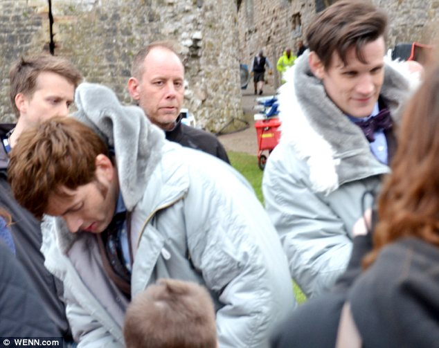 There's two of them! David Tennant joins Matt Smith as the pair film a special show for the 50th Anniversary of Doctor Who in Chepstow