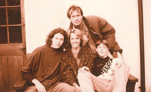 Angela pictured with Zek as a teenager (far left), husband Olly and younger son Cato
