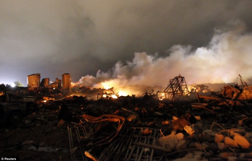 Explosion: Scores of people were injured after a huge explosion ripped through a fertilizer plant near the town of West, Texas, on Wednesday