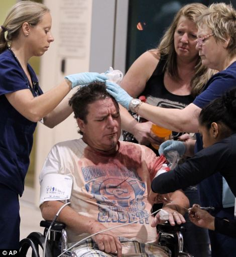 A victim from the West fertilizer plant explosion is wheeled into Hillcrest Baptist Medical Hospital in Waco, Texas,