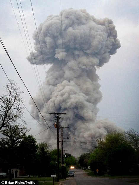 'Mushroom cloud from my front yard in West right after the explosion. Pretty intense situation'