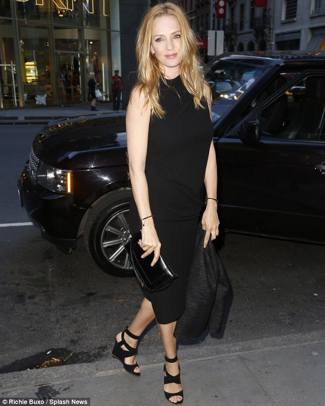 Blonde bombshell: Uma Thurman was a sight for sore eyes at Calvin Klein's Human Rights Party in New York on Wednesday