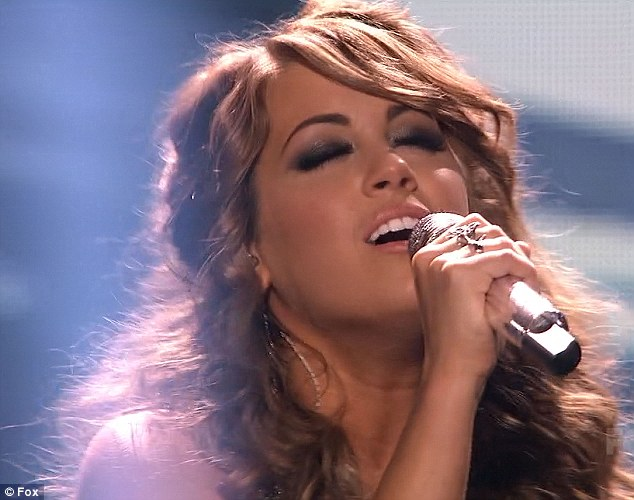 Emotional: Angie was clearly giving it her all as she performed her songs on the talent contest