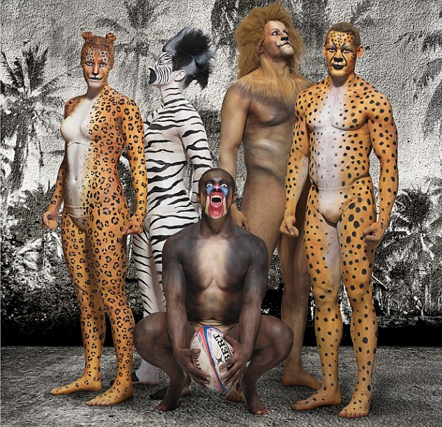 Animal instinct: (left to right) England Sevens stars Michaela Staniford, Alice Richardson, Tom Mitchell, Chris Cracknell and Dan Norton pose for a unique photoshoot at Twickenham