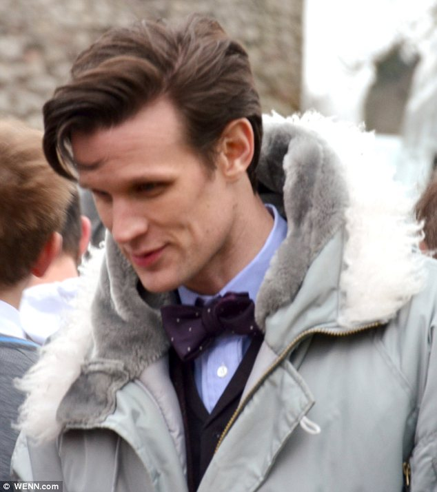 Smart: Matt rocked a bow tie on the set of the show