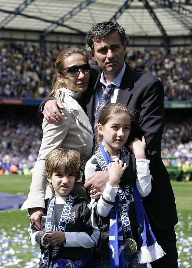 Family affair: Mourinho celebrates winning the Premier League with Chelsea in 2005 with wife Tami and children Jose Jr (left) and Matilde (right)