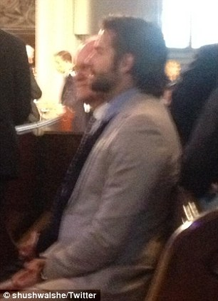 Celebrity attendees: A twitter user posted a photo of actor Bradley Cooper who is one of the guests at the interfaith service in Boston today