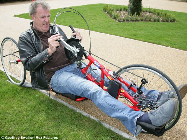 Changing his ways: Although he's shown contempt for cyclists in the past, Jeremy seemed to be having a change of heart