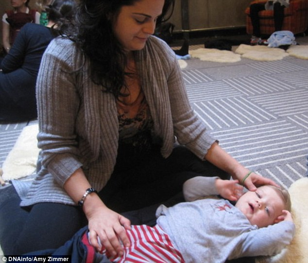 Alternative method: Pardis Partow, 41, from Brooklyn, New York, decided to give her year-old son, Parker, some diaper-free time at home after he developed diaper rash