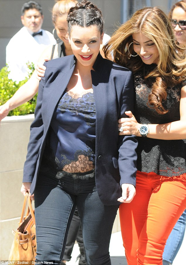 Another dubious ensemble: Kim stepped out for lunch at LA Scala in Beverly Hills on Thursday