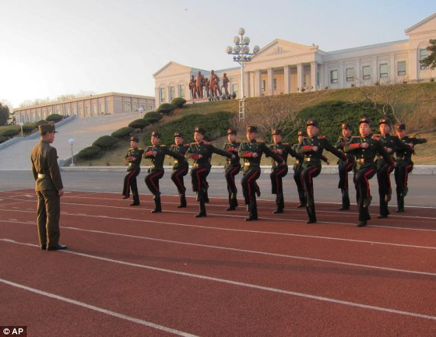 Pupils learn to march in unison at Mangyongdae Revolutionary School which is run by the military