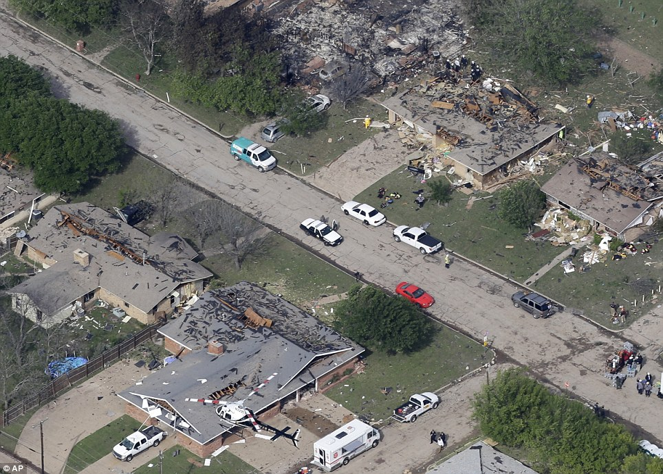 The roofs of houses around the West Fertilizer company caved in. One home burned to the ground. An estimated 50 to 75 houses have been heavily damaged