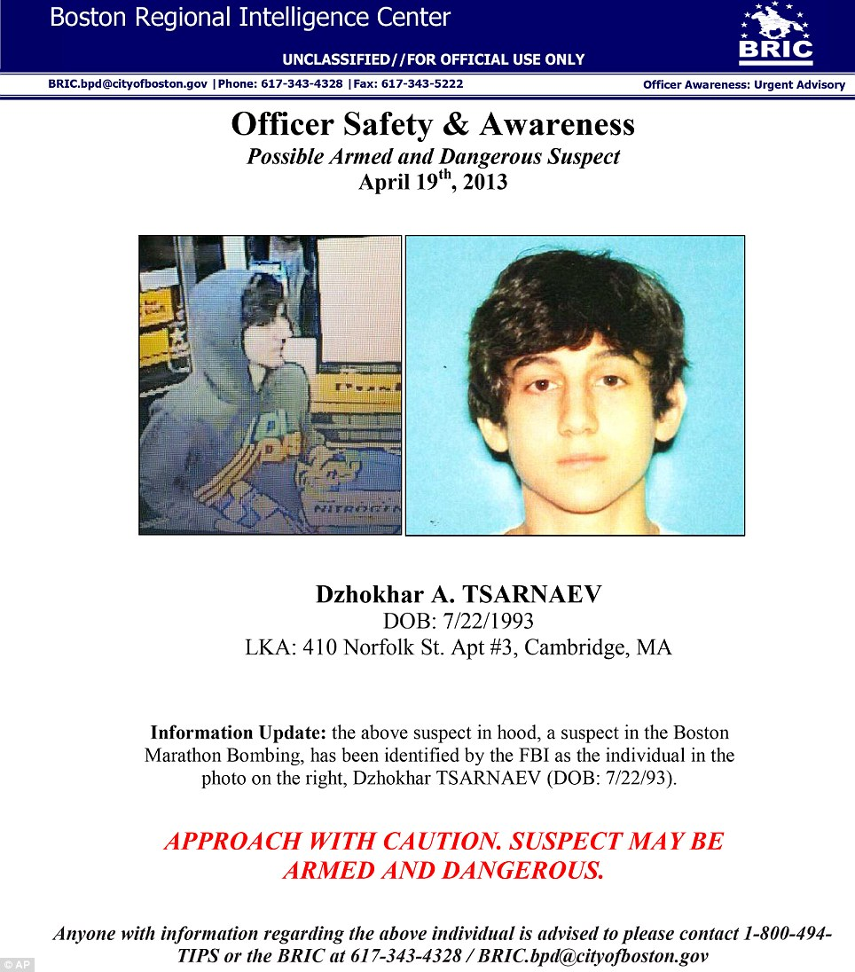 On the run: This image provided by the Boston Regional Intelligence Center shows Dzhokhar A Tsarnaev, one of the suspects in the Boston Marathon bombings