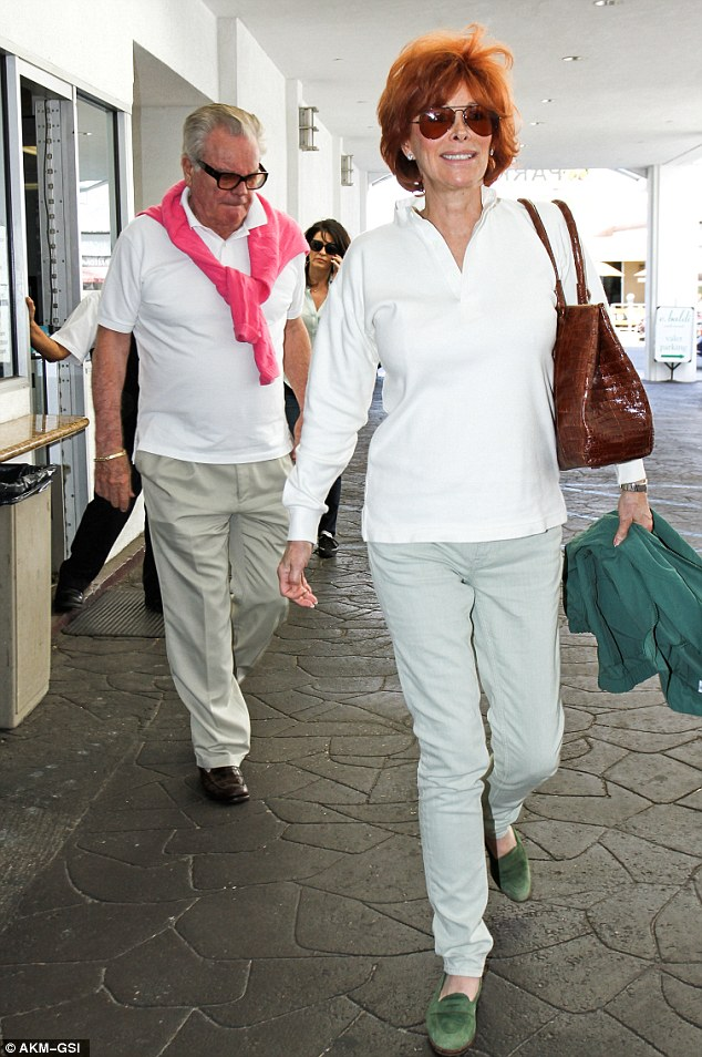 Happy couple: Robert Wagner and his wife Jill St. John were seen enjoying a spot of lunch in Beverly Hills on Thursday