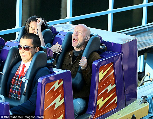 Scream if you wanna go faster: Bruce let out a mighty yelp as his wife maintained her calm and composure