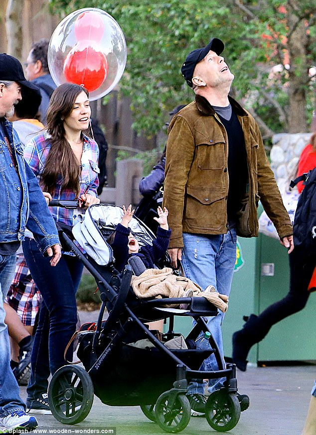 Up in the clouds: The actor got to spend some down time with his family at Disney's California Adventure park in Anaheim