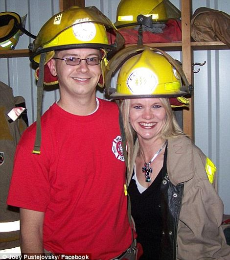 Missing: Volunteer firefighter Joey Pustejovsky, pictured left with his wife, is reportedly among those missing Right, Morris Bridges,