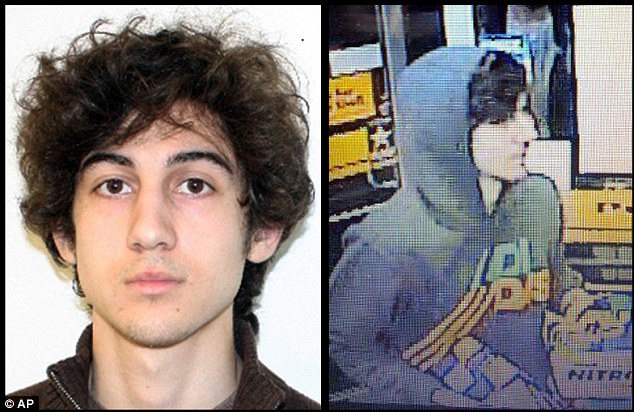 Wanted: This combination of photos provided by the FBI, left, and the Boston Regional Intelligence Center, right, shows a suspect that officials have identified as Dzhokhar Tsarnaev