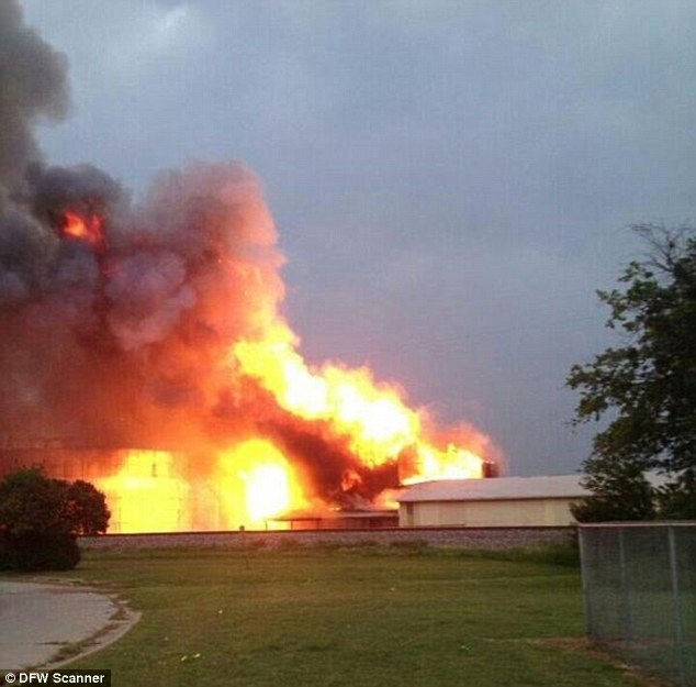 Blaze: The blast ripped through West Fertilizer at 7.50pm and fires continue to burn at the scene