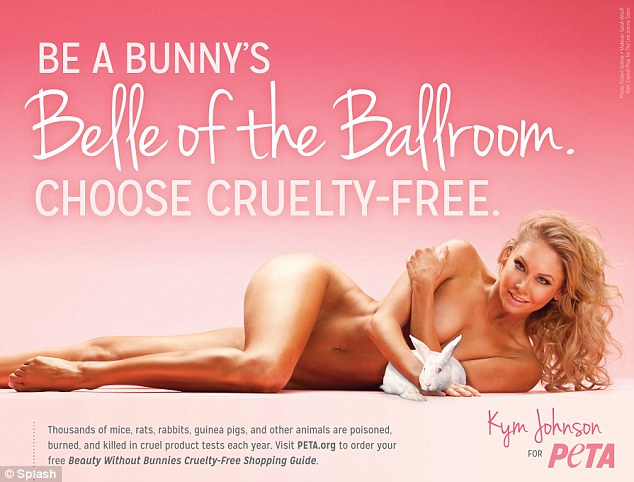 I'd rather go naked: Dancing with the Stars' Kym Johnson stripped down naked and cuddled a bunny for PETA's latest campaign fighting animal testing