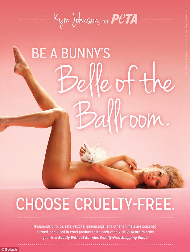 PETA pin-up: The 36-year-old hoofer cuddled a bunny and flaunted her athletic physique in two different pin-up poses on print ads, shot by photographer Robert Sebree, released Friday