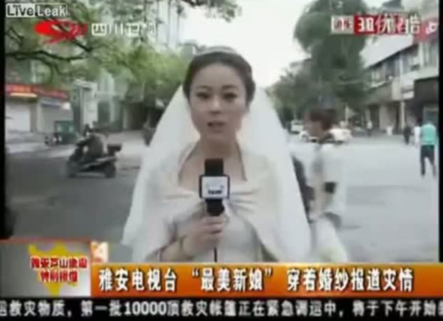 Dedicated: TV reporter Chen Ying cuts short her own wedding to report on the devastating earthquake in southern China, which has so far claimed more than 150 lives