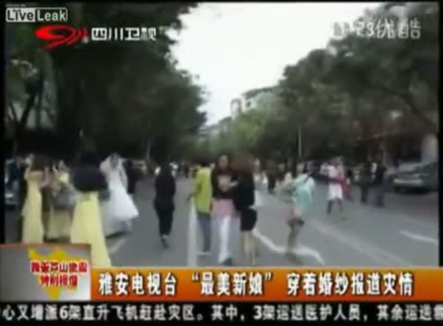 Handy: A camera crew happened to be nearby Chen's wedding and approach her ahead of her report