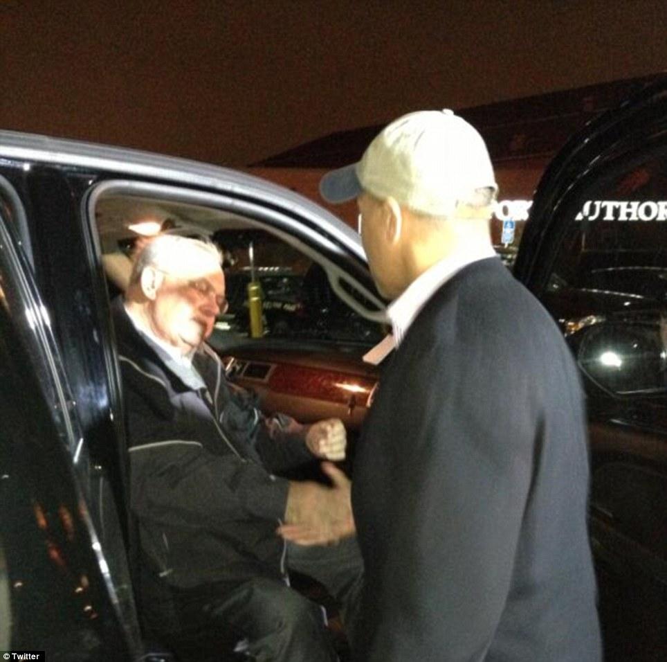 Relief: Boston Mayor Thomas Menino (left) congratulates Massachusetts Governor Deval Patrick upon the capture of marathon bombing suspect Dzhokhar Tsarnaev