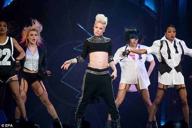 Showing off her moves: Pink took to the stage at the Ziggo Dome in Amsterdam as part of her The Truth About Love tour