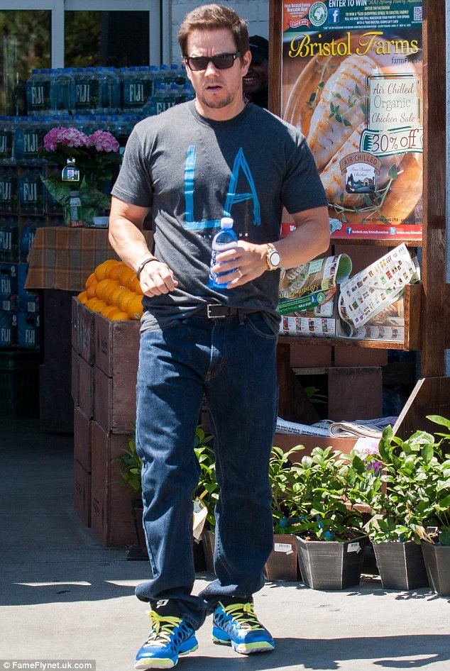 Stocking up: Mark Walhberg was seen grocery shopping at Bristol Farms in West Hollywood on Friday