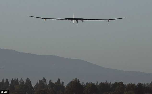 Landing: The Solar Impulse lands during a test flight at Moffett Field NASA Ames Research Center in Mountain View, California on Friday, April 19, 2013