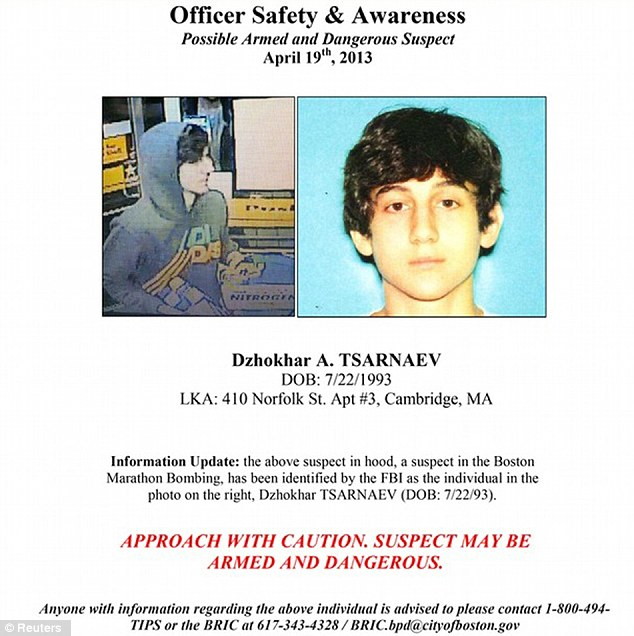 Armed and dangerous: A nationwide manhunt went out for Dzhokhar A. Tsarnaev on Friday morning after he evaded capture