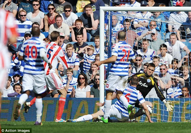 Opener: Peter Crouch put Stoke ahead in the first half at Loftus Road