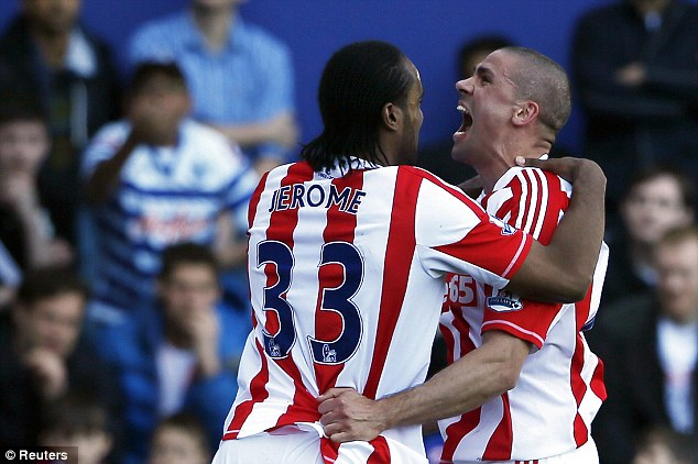 All over: Jon Walters scored a second-half penalty to put Stoke in the driving seat