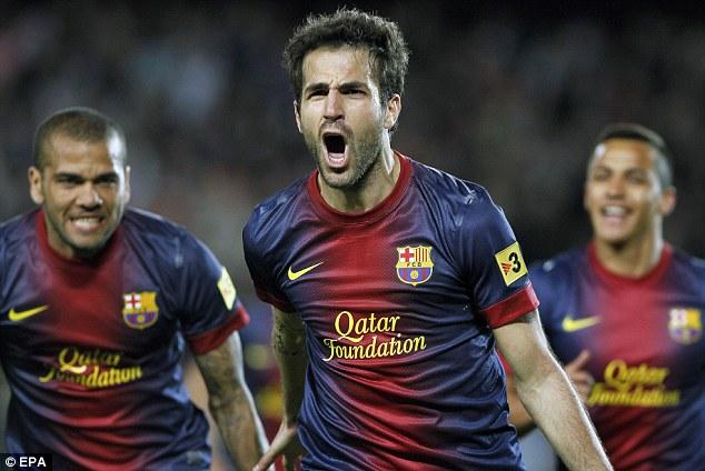 In control: Cesc Fabregas scored for Barcelona against Levante on Saturday