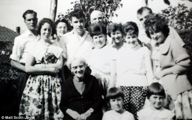 John and his wife Christine, far left, pictured with members of his extended family who never knew his older sister