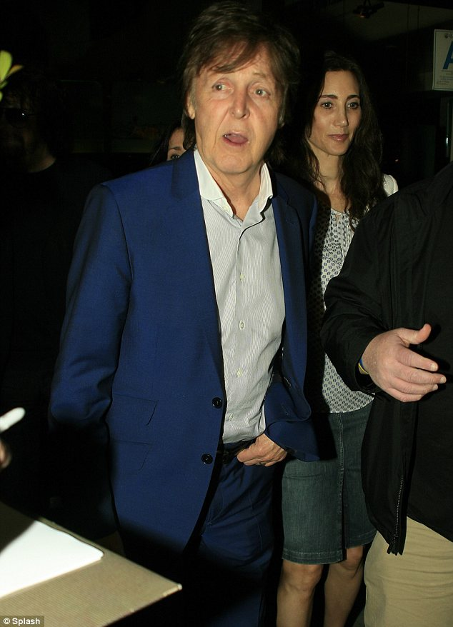 Double date: Sir Paul had also brought along his wife Nancy for dinner at the posh Mr Chow eatery