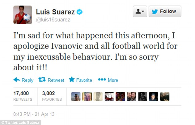 Apology: Liverpool striker Suarez said on his official Twitter account that he was 'so sorry' for what happened
