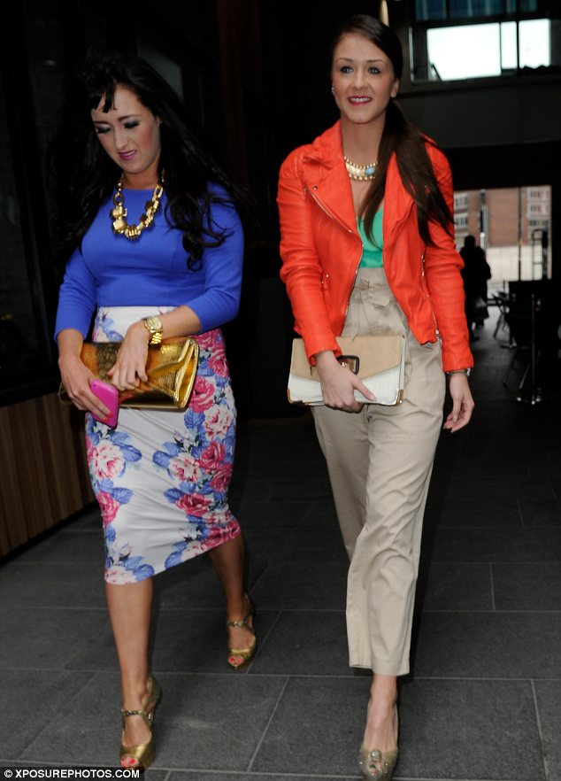 Letting loose: While Brooke's friends opted for tight outfits the actress decided to try on a pair of high-waisted trousers