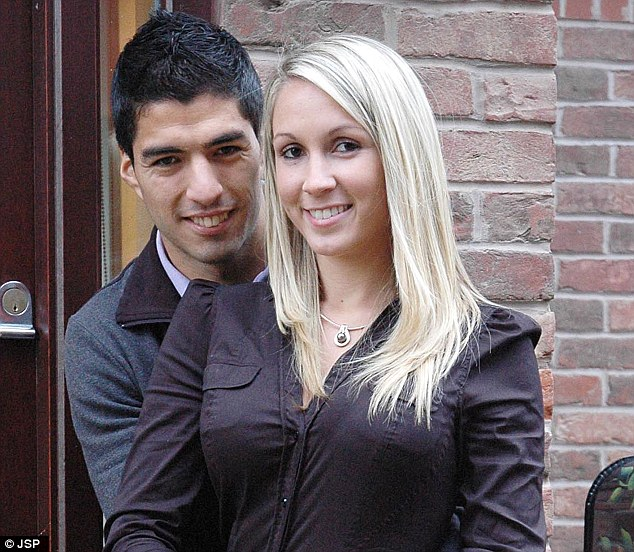 Couple: Suarez is is married to childhood sweetheart Sofia Balbi and is understood to earn £100,000 a week at Liverpool