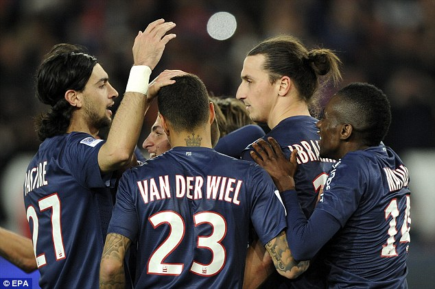 On the scoresheet: Zlatan Ibrahimovic (second right) celebrates with team-mates
