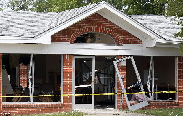 Caution: The West Nursing home shows damage from the explosion at the neighboring West Fertilizer plant