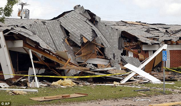 Collapse: Part of a destroyed nursing home that resulted from the explosion