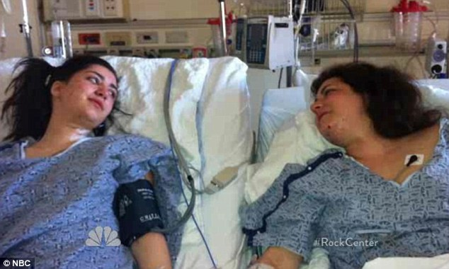Together again: Sydney Corcoran, left, whose legs were badly injured in the bomb blast now shares a hospital room with her mother Celeste, right, who lost both legs below the knee