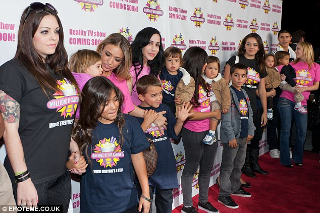 All lined up: Nadya is the mother of 14 children, pictured in West Hollywood, November 2010