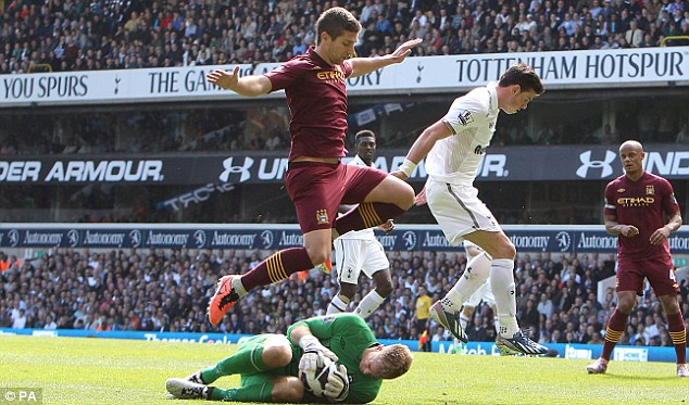 Resilient: And despite Hart's best efforts, Spurs went on to victory