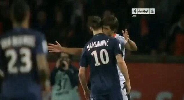 Come here you: Zlatan Ibrahimovic is kissed by Nice defender Renato Civelli during the Ligue 1 match
