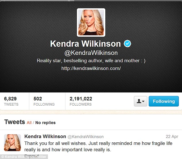Tweet thanks: Kendra took to her Twitter account to express her gratitude towards her fans for their well wishes